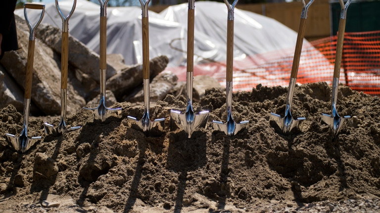 Shovels at construction site. Photo by Ed Reed/Mayoral Office of Photography.