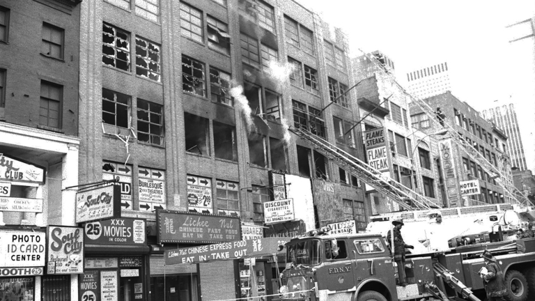 42nd Street, circa 1985. The FDNY was a regular presence on the block in the 80s. Credit: FDNY
