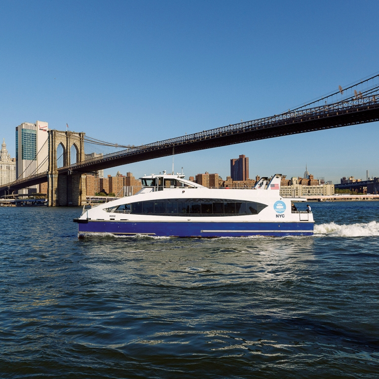 NYC Ferry on the East River. Photo by Kreg Holt/NYCEDC