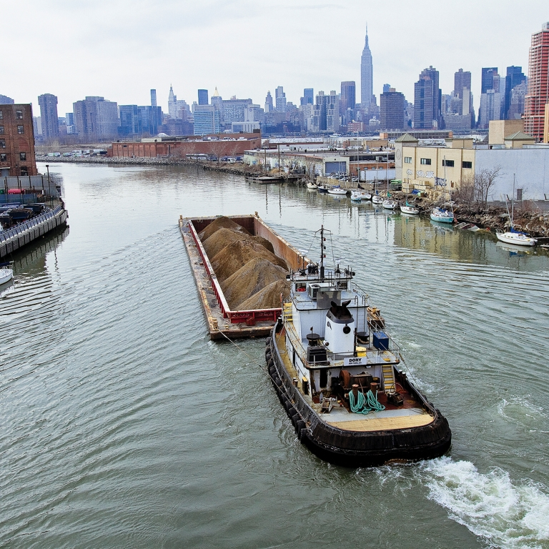 Barge on Newtown Creek. photo by Mitch Waxman/NYCEDC