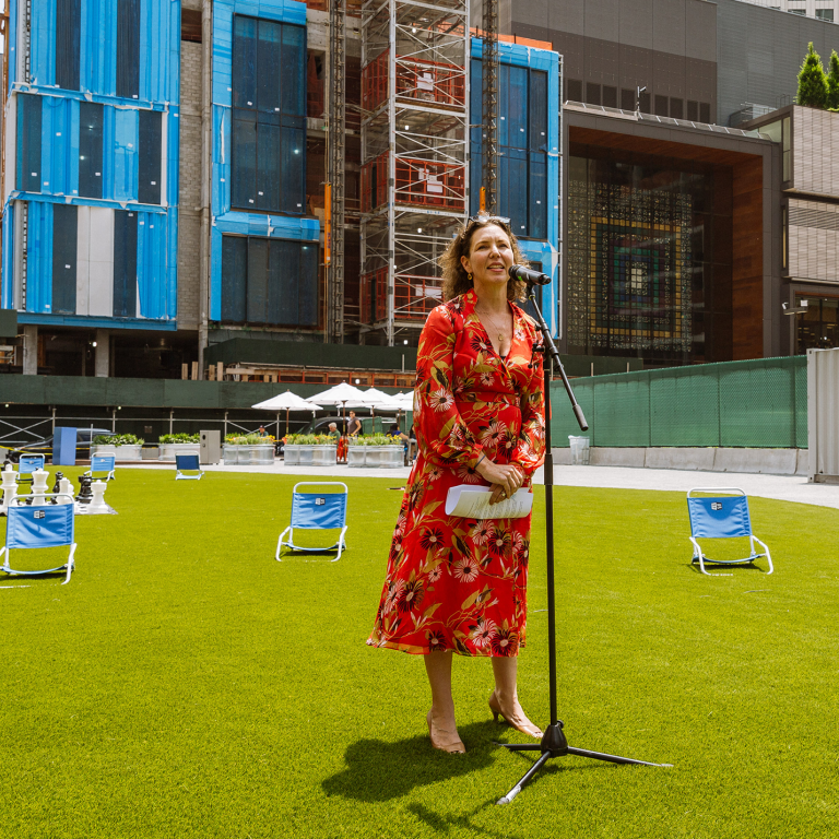 NYCEDC Chief Operating Officer Rachel Loeb speaking at the Willoughby Square Pop-Up Park Opening
