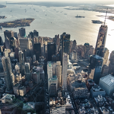 Aerial view of Lower Manhattan. Photo by Dong Wenje/Getty Images