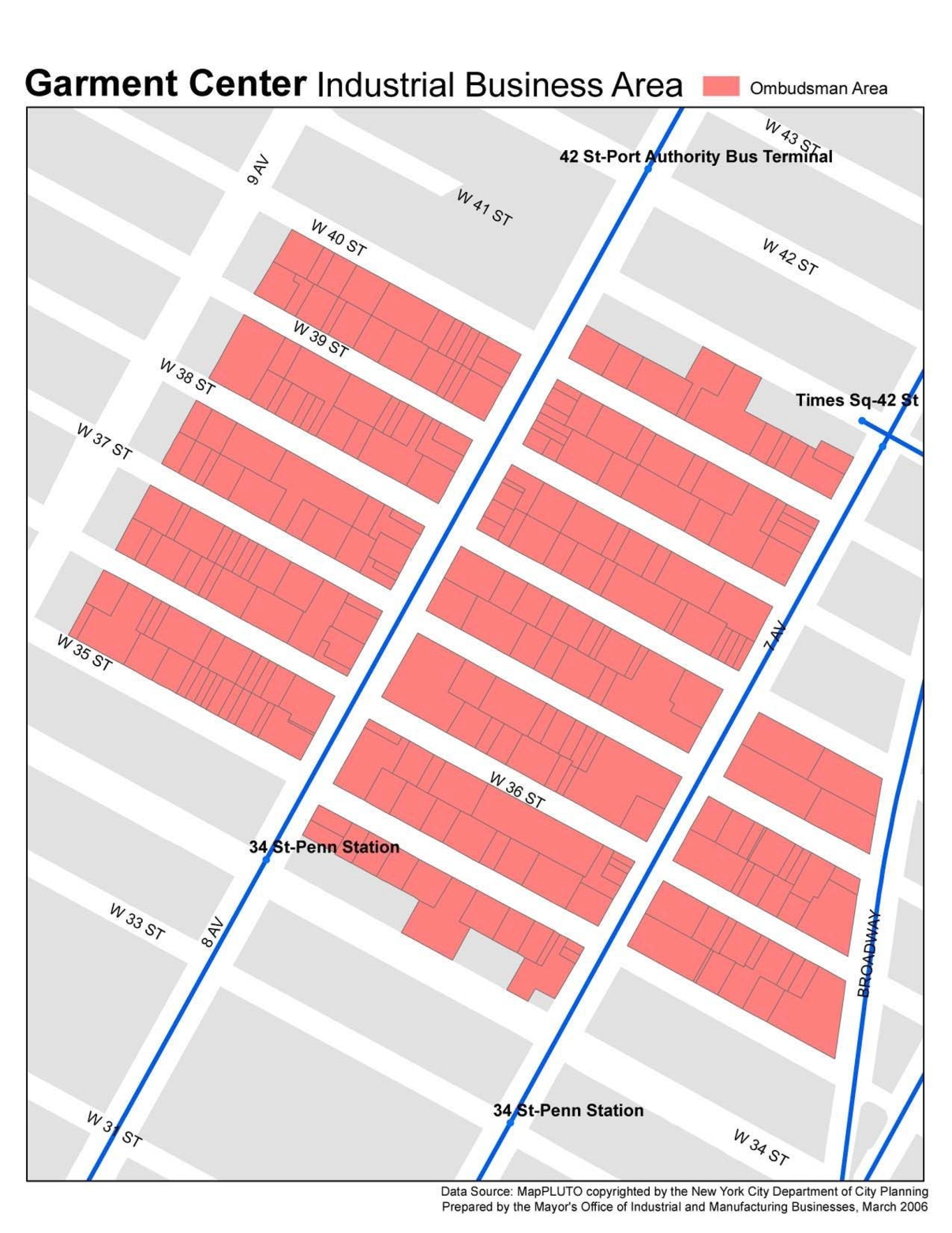 Garment Center Bid Map. NYCEDC.