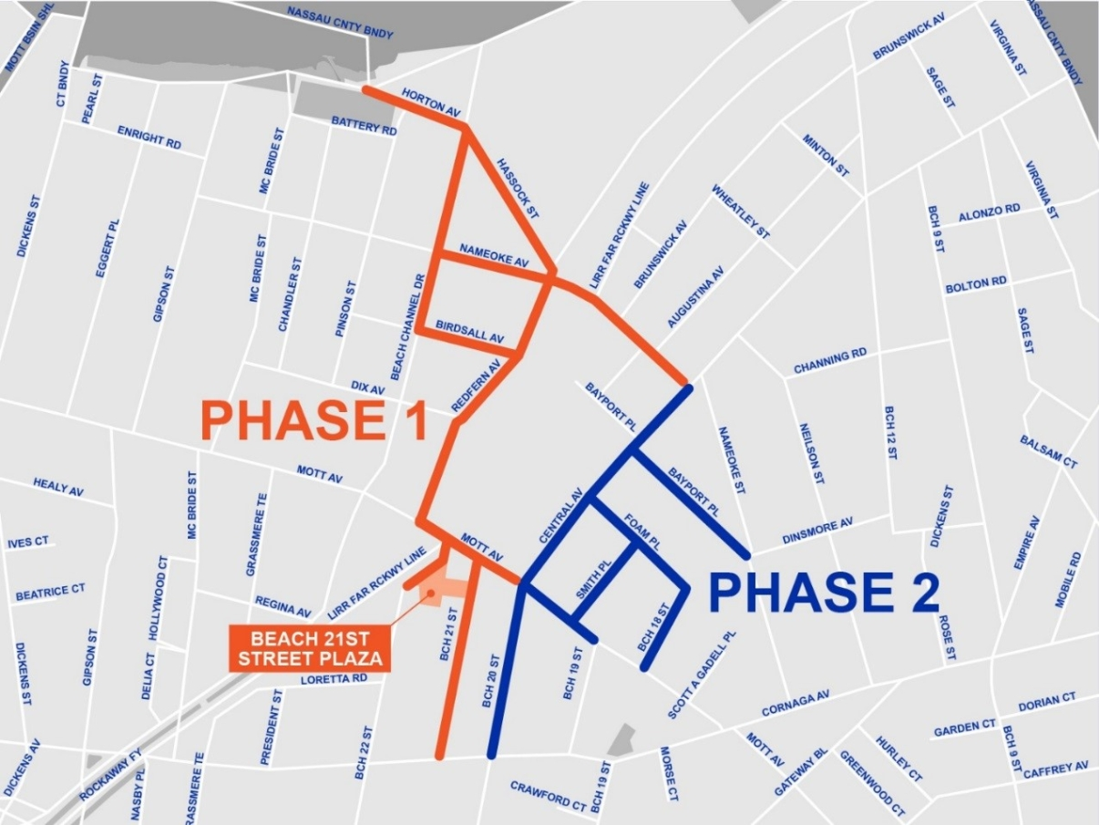 Map of construction phases for Downtown Far Rockaway