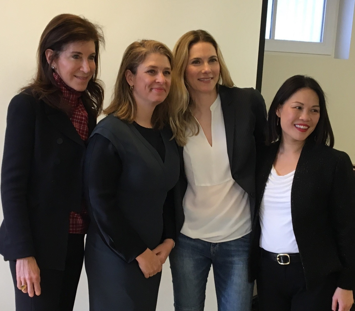 (From left) President and CEO of Brooklyn Public Library Linda Johnson, Deputy Mayor Alicia Glen, Head of External Affairs for Google NYC Carley Garcia, and MotherCoders Founder Tina Lee