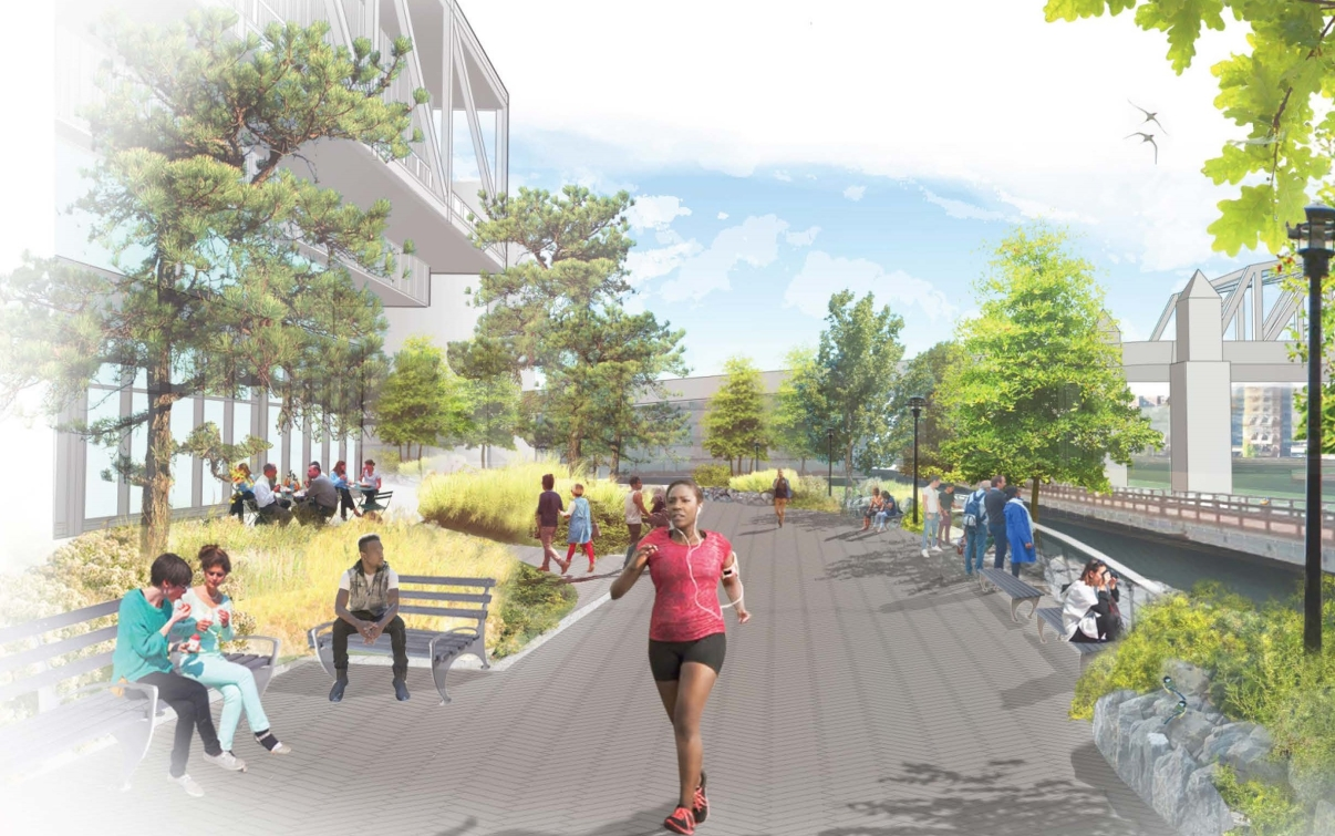 Lower Concourse Bronx Point Waterfront Esplanade Rendering