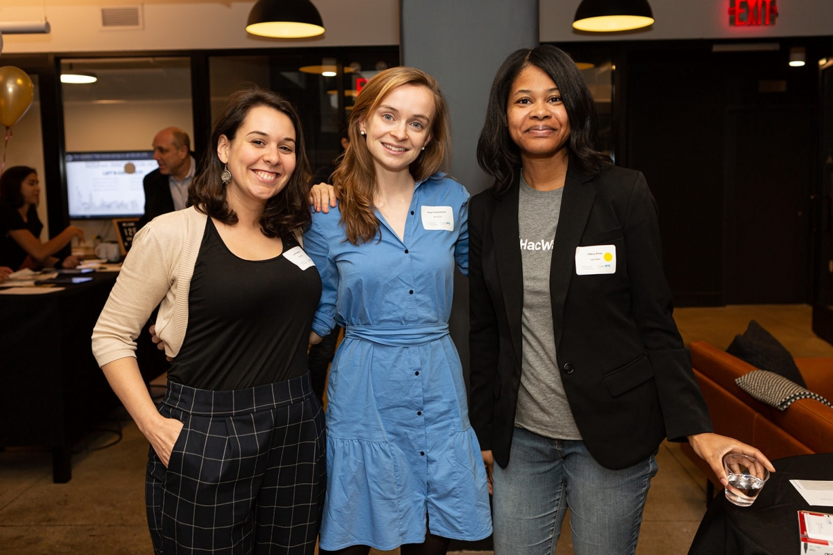 Brigit Goebelbacker (NYCEDC), Liat Krawczyk (NYCEDC) and Tiffany Ricks (HacWare) at I2F kick-off event