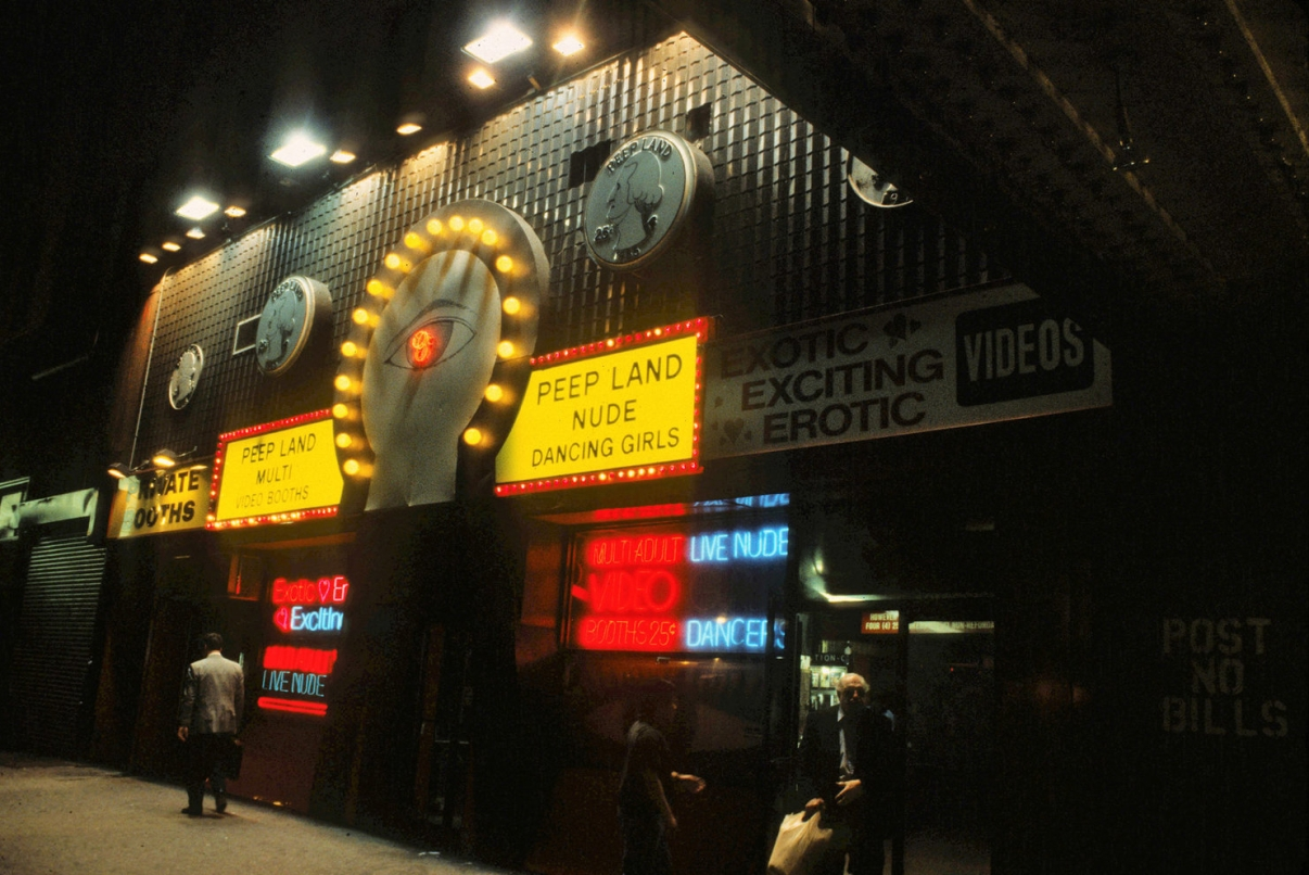 An adult entertainment establishment circa 1992. Over time, 42nd Street became synonymous with the sex industry. Credit: Peter Aaron/Otto for Robert A.M. Stern Architects