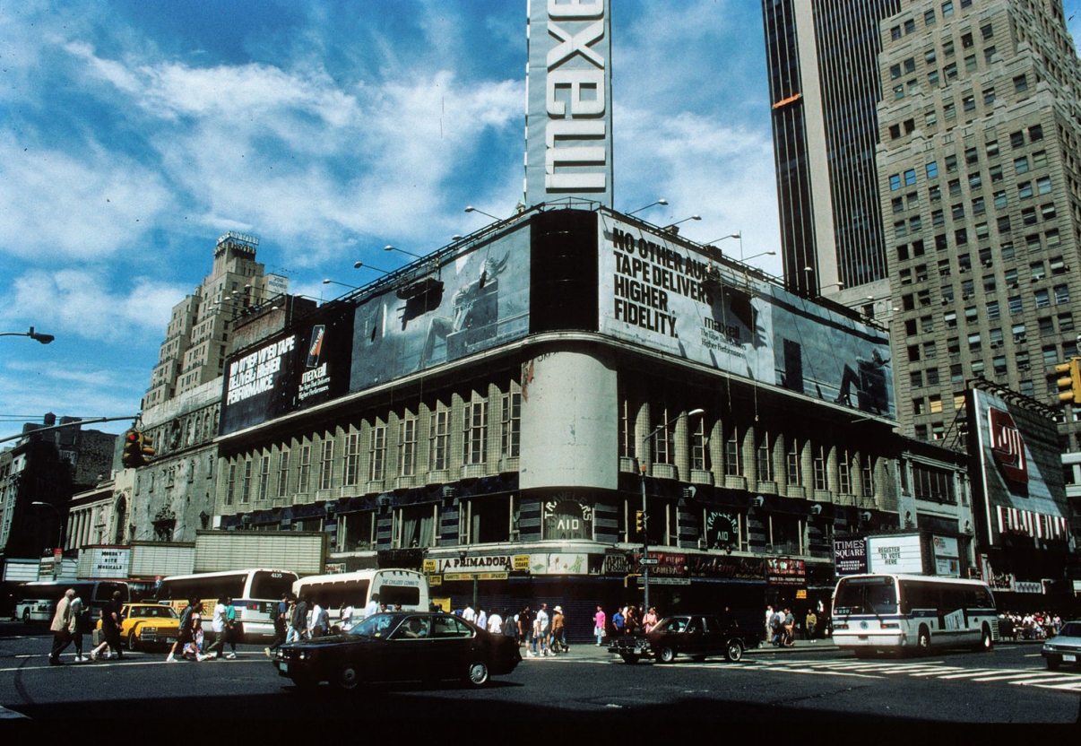 Corner of 42nd and 7th in 1992, flanked by vacant theatres. Credit: Peter Aaron/Otto for Robert A.M. Stern Architects