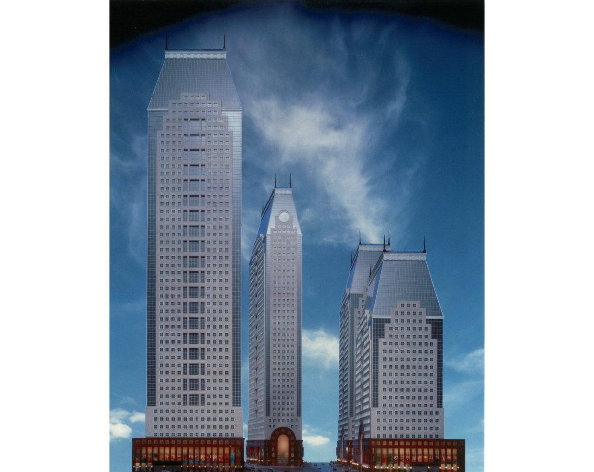 Park Tower Realty continued to evolve the designs of the office towers to better conform to the signage and lighting guidelines. Ultimately, as the office market bottomed out, the plans for the four towers were not pursued. Credit: Park Tower Realty and Thorney Lieberman