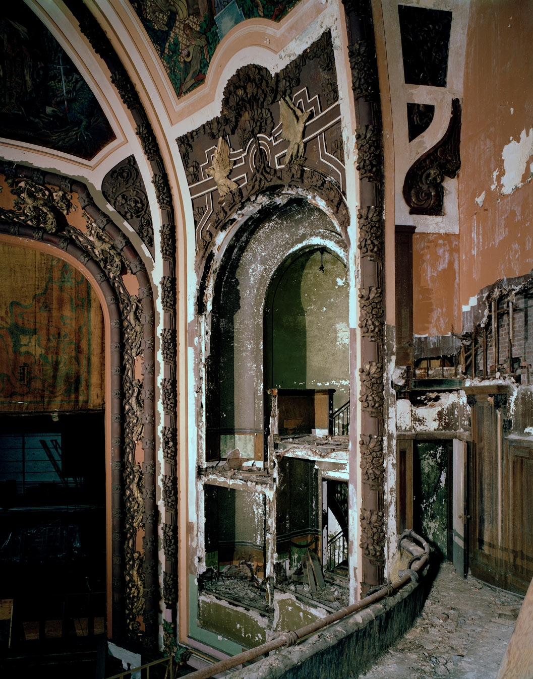 Interior of the New Amsterdam Theatre, before renovations began. The theater was in the worst shape of all the renovated theaters. Image: Whitney Cox.