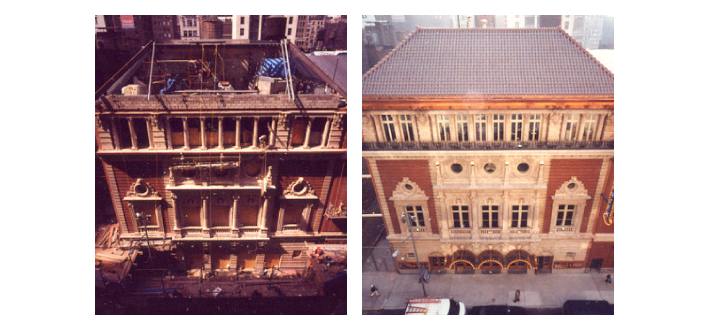 An aerial view of the project and the final result of the historical 43rd Street exterior after reconstruction. Image: by Fiona Spaulding-Smith.