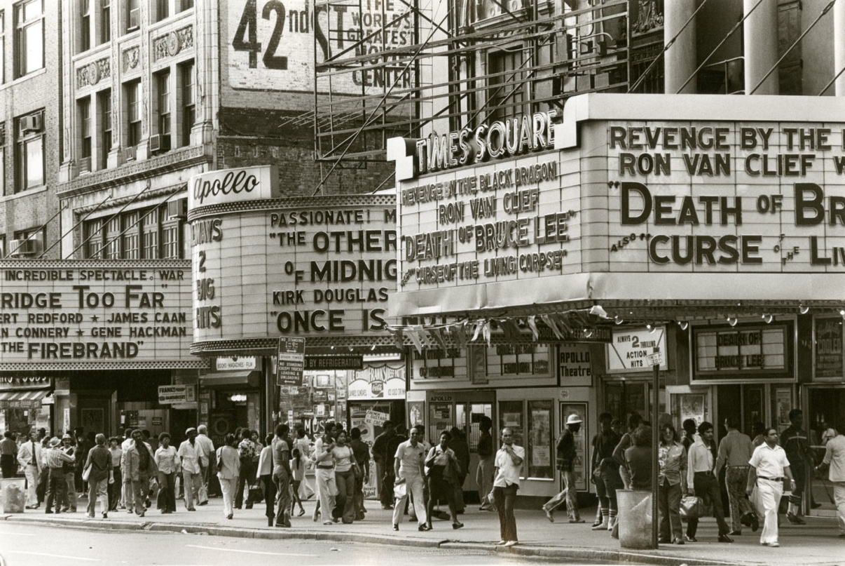 The Apollo and Times Square Theatres, circa 1977. Image: New York Historical Society.