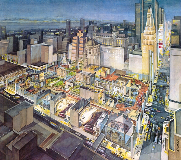 """The City at 42nd Street"" was a vision for an entertainment-themed development on 42nd Street. This option was presented to Mayor Koch as a solution to the troubles on 42nd Street. He chose to take another path. Image: Chermayeff & Geismar & Haviv."