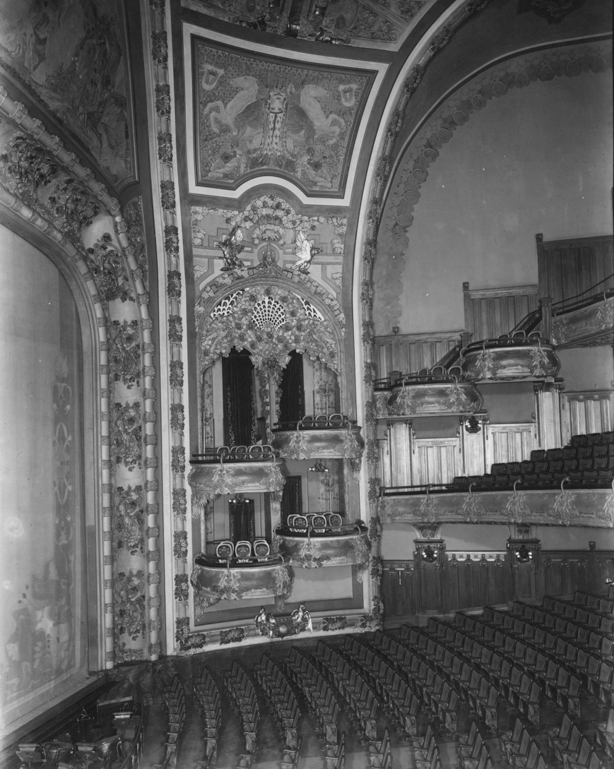 View from the boxes at the original New Amsterdam Theatre. Image: New York Historical Society.