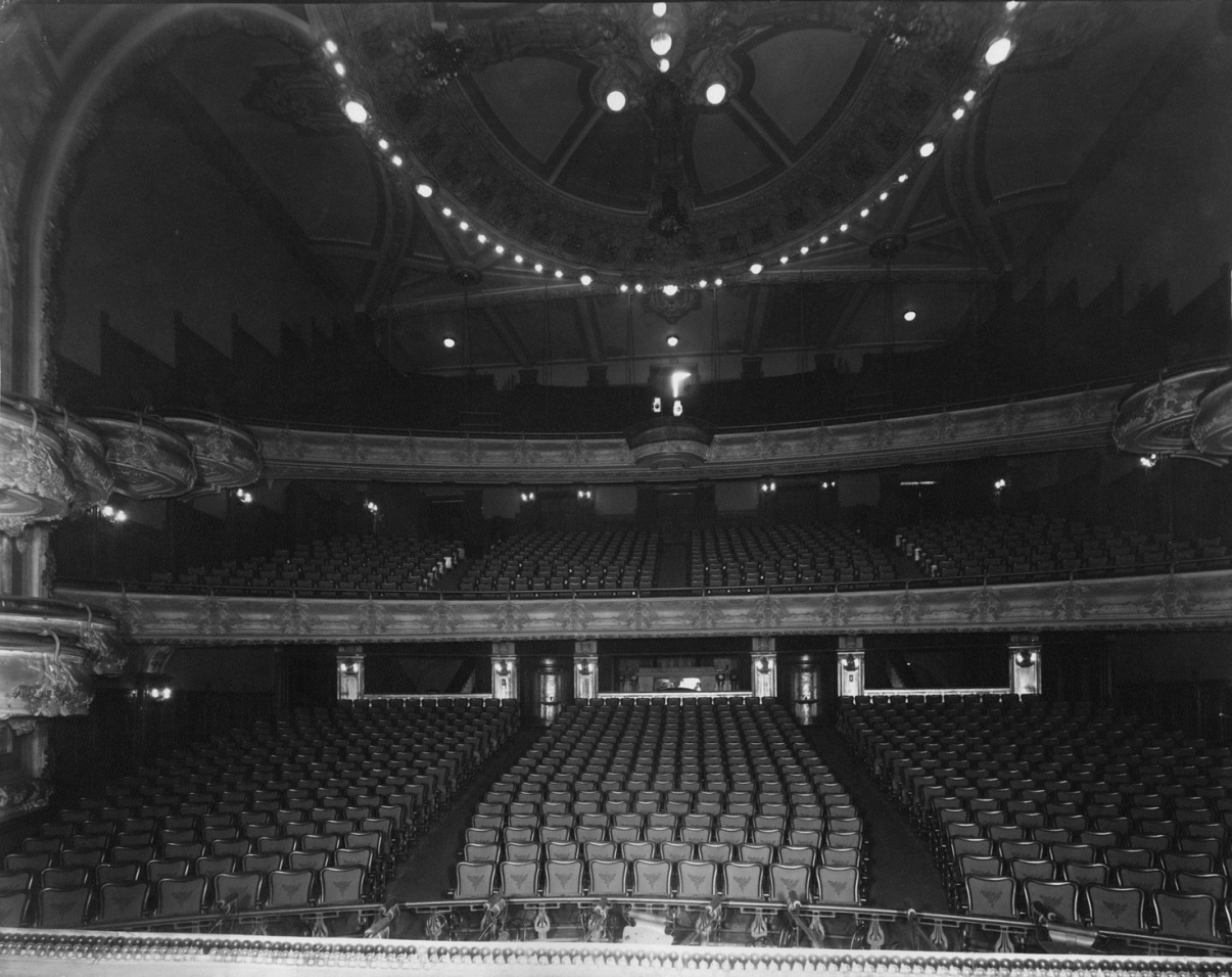 View from stage of the original New Amsterdam Theatre. Image: New York Historical Society.