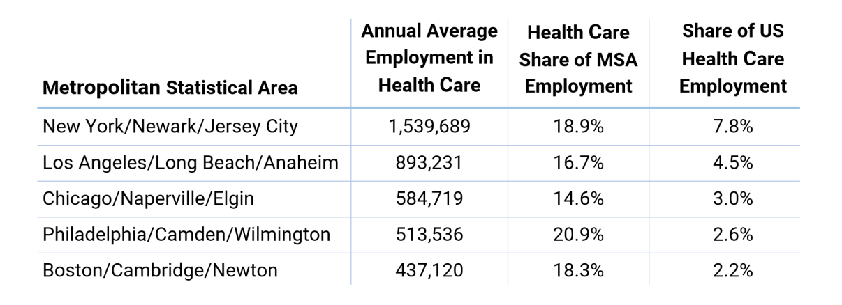 Health Care in Metropolitan Statistical Areas